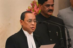 New Delhi: Justice Ranjan Gogoi takes his oath of office after he was appointed as the 46th Chief Justice of India, at Rashtrapati Bhawan in New Delhi, Wednesday, Oct 3, 2018. (PTI Photo/Shahbaz Khan) (PTI10_3_2018_000034B)