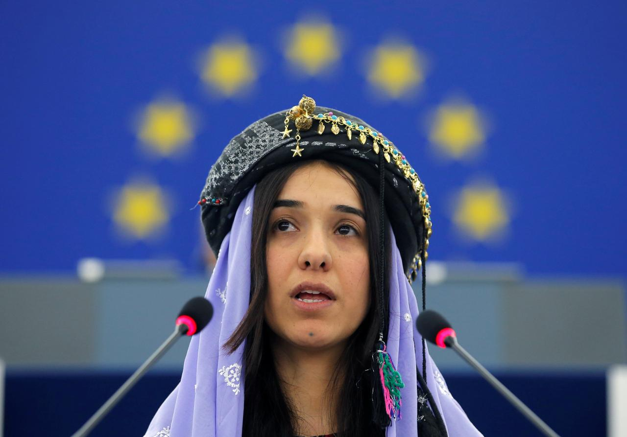 FILE PHOTO: Nadia Murad Basee Taha adresses the European Parliament during an award ceremony for the 2016 Sakharov Prize at the European Parliament in Strasbourg, France, December 13, 2016. Murad Basee Taha received the prize with Lamiya Aji Bashar (not pictured), both Iraqi women of the Yazidi faith. REUTERS/Vincent Kessler/File Photo