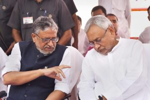 Patna: Bihar Chief Minister Nitish Kumar with Dy Chief Minister Sushil Kumar Modi during a Gandhi Jayanti function, at Gandhi Maidan in Patna, Tuesday, Oct 2, 2018. (PTI Photo) (PTI10_2_2018_000063B)