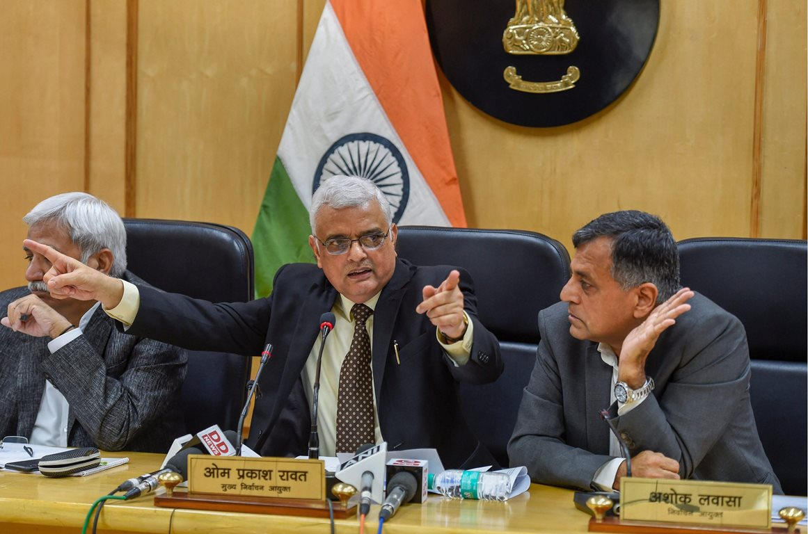 New Delhi: Chief Election Commissioner OP Rawat flanked by Election Commissioners Sunil Arora (L) and Ashok Lavasa (R) address a press conference to announce the dates for Assembly elections in five states, in Delhi, Saturday, Oct 6,2018. ( PTI Photo/ Kamal Singh) (PTI10_6_2018_000093A)