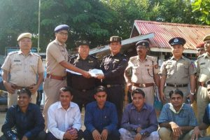Moreh Border: In this photo provided by Assam Police are seen seven Rohingya immigrants being handed over to Myanmar authorities after completing deportation formalities, at Moreh border post in Manipur, Thursday, Oct 4, 2018. The illegal immigrants were detained in 2012 and since then they were lodged in Cachar Central Jail in Assam's Silchar. (PTI Photo) (PTI10_4_2018_000067B)