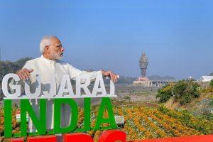 Kevadiya: Prime Minister Narendra Modi at the inauguration of 'Valley of Flowers', overlooking a 182-meters high statue of Sardar Vallabhbhai Patel, on the occasion of Rashtriya Ekta Diwas, at Kevadiya colony of Narmada district, Wednesday, Oct 31, 2018. (PIB Photo via PTI) (PTI10_31_2018_000102)