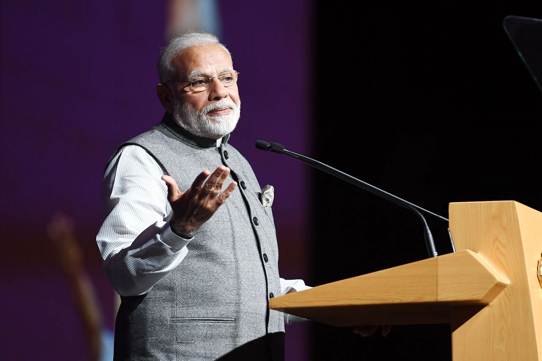 The Prime Minister, Shri Narendra Modi addressing at the Business and Community event, at Marina Bay Sands Convention Centre, in Singapore on May 31, 2018.