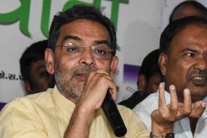 Patna: Bihar Rashtriya Lok Samata Party (RLSP) president Upendra Kushwaha addresses a press conference at the Party office, in Patna, Friday, Nov 09, 2018. (PTI Photo)(PTI11_9_2018_000084B)