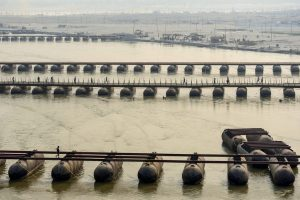 Allahabad: Workers construct a pontoon bridge over River Ganga for the upcoming Kumbh Mela 2019, in Allahabad, Friday, Nov. 30, 2018. (PTI Photo) (PTI11_30_2018_000045)