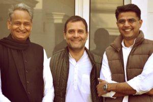 कांग्रेस अध्यक्ष राहुल गांधी के राजस्थान के मुख्यमंत्री अशोक गहलोत और सचिन पायलट. (फोटो साभार: ट्विटर)