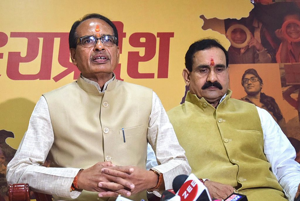 Bhopal: Madhya Pradesh Chief Minister Shivraj Singh Chouhan addresses a press conference at his residence before submitting his resignation to Governor Anandiben Patel, in Bhopal, Wednesday, Dec. 12, 2018. (PTI Photo)(PTI12_12_2018_000083)