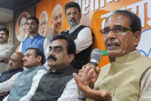 Bhopal: Madhya Pradesh Chief Minister Shivraj Singh Chouhan addresses a press conference, at BJP State headquarters in Bhopal, Wednesday, Dec. 12, 2018. BJP State President Rakesh Singh is also seen.(PTI Photo)(PTI12_12_2018_000200)