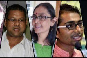 माओवादियों से संबंध और प्रधानमंत्री की हत्या की साज़िश के आरोप में गिरफ्तार किए गए सामाजिक कार्यकर्ता सुधीर धावले, सुरेंद्र गाडलिंग, शोमा सेन महेश राउत और रोना विल्सन. (बाएं से दाएं)