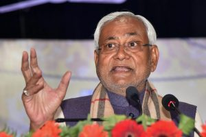 Patna: Bihar Chief Minister Nitish Kumar addresses the annual day function of Magadh Mahila College in Patna, Friday, January 25, 2019. (PTI Photo) (PTI1_25_2019_000070B)