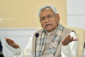 Patna: Bihar Chief Minister Nitish Kumar speaks to the media during Lok Samvad programme, in Patna, Monday, Jan. 7, 2019. (PTI Photo) (PTI1_7_2019_000059B)