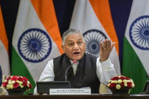 New Delhi: Minister of State for External Affairs VK Singh addresses a press conference on Pravasi Bharatiya Divas, in New Delhi, Friday, Jan. 11, 2019. (PTI Photo/Vijay Verma) (PTI1_11_2019_000050B)