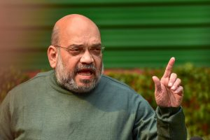 New Delhi: BJP President Amit Shah interacts with media at his residence, in New Delhi, Friday, Feb.1, 2019. (PTI Photo/Manvender Vashist)(PTI2_1_2019_000126B)