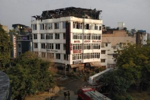 New Delhi: Rescue efforts being carried out after a massive fire at a hotel at Karol Bagh area, in New Delhi, Feb. 12, 2019. At least 17 people were killed and several injured after a fire at a hotel. (PTI Photo/ Shahbaz Khan)(PTI2_12_2019_000001B)