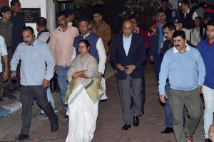 Kolkata: West Bengal Chief Minister Mamata Banerjee comes out from Kolkata Police Commissioner Rajeev Kumar's residence, after CBI offcials came to questioning commissioner in connection with the Saradha ponzi scam. in Kolkata, Sunday late evening, Feb 03, 2019.  (PTI Photo/Swapan Mahapatra)(PTI2_3_2019_000226B)