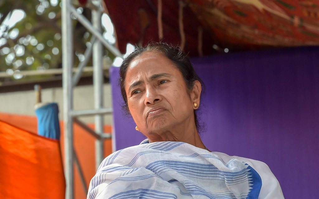 Kolkata: West Bengal Chief Minister Mamata Banerjee during a sit-in over the CBI's attempt to question the Kolkata Police commissioner in connection with chit fund scams, in Kolkata, Monday, Feb. 04, 2019. (PTI Photo/Ashok Bhaumik)(PTI2_4_2019_000163B)