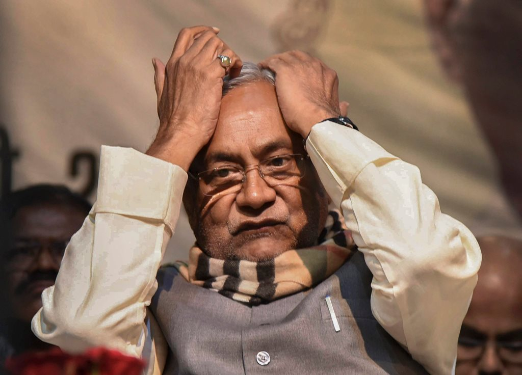 Patna: Bihar Chief Minister Nitish Kumar during a prayer meeting for former defence minister George Fernandes, in Patna, Friday, Feb 8, 2019. (PTI Photo) (PTI2_8_2019_000136B)