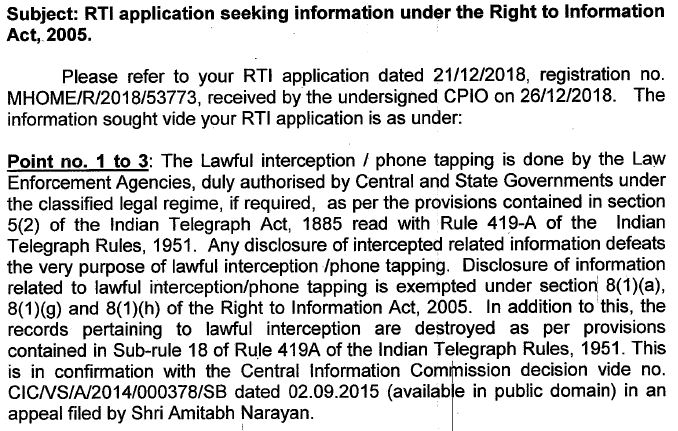 RTI phone Tapping