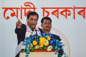 Dibrugarh: Assam Chief Minister Sarbananda Sonowal addresses his party workers during a meeting, at Chowkidinghee field in Dibrugarh, Thursday, Feb. 21, 2019. (PTI Photo)(PTI2_21_2019_000147B)