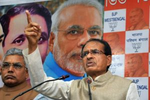 Kolkata: BJP National Vice President Shivraj Singh Chouhan addresses a press conference at the party office in Kolkata, Thursday, Feb. 7, 2019. (PTI Photo) (PTI2_7_2019_000106B)