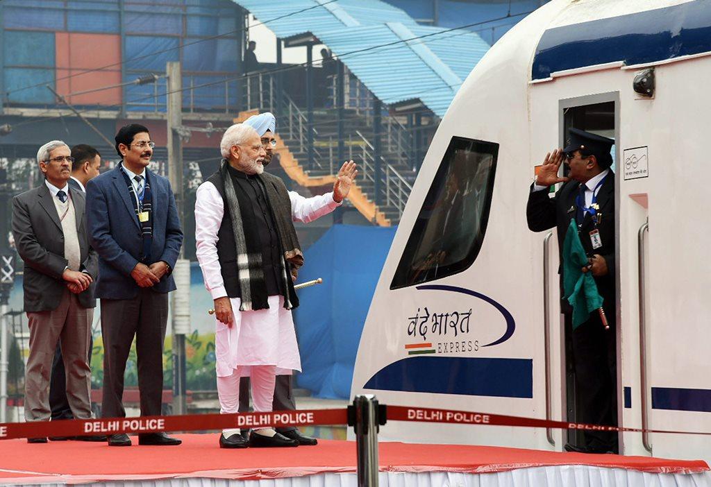 New Delhi: Prime Minister Narendra Modi flags off Vande Bharat Express, India's first semi-high speed train, at New Delhi Railway Station, Friday, Feb.15, 2019. The train will run between Delhi-Varanasi. (PIB Photo via PTI) (PTI2_15_2019_000042B)