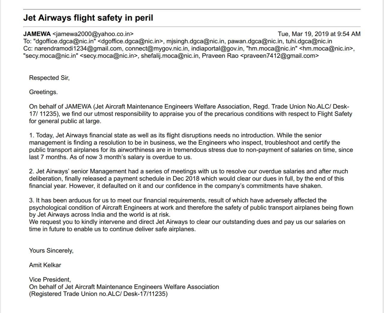 जेट एयरक्राफ्ट इंजीनियर्स वेलफेयर एसोसिएशन की ओर से डीजीसीए को भेजा गया पत्र. (फोटो साभार: ट्विटर)