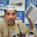 New Delhi: Delhi AAP convener Gopal Rai addresses the media at the party office in New Delhi, Friday, April 19, 2019. (PTI Photo/Manvender Vashist)(PTI4_19_2019_000080B)
