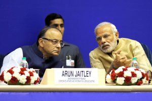 The Prime Minister, Shri Narendra Modi and the Union Minister for Finance, Corporate Affairs and Information & Broadcasting, Shri Arun Jaitley at the inauguration of the 10th Annual Convention of Central Information Commission, in New Delhi on October 16, 2015.