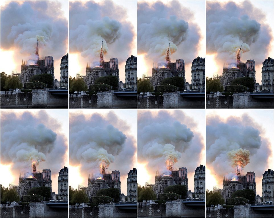 Paris: In this combination of photos, flames and smoke rise as the spire on the Notre Dame Cathedral collapses during a fire in Paris, Monday, April 15, 2019. AP/PTI(AP4_16_2019_000008B)