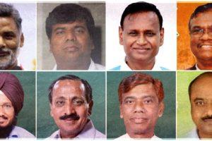मधेपुरा सांसद पप्पू यादव, गोरखपुर सांसद प्रवीण निषाद, भाजपा सांसद उदित राज और भाजपा सांसद फग्गन सिंह कुलस्ते (ऊपर: बाएं से दाएं). आप सांसद साधु सिंह, कांग्रेस सांसद एमके राघवन, लोजपा सांसद रामचंद्र पासवान और राजद सांसद सरफ़राज़ आलम (नीचे: बाएं से दाएं). (फोटो साभार: फेसबुक/विकिपीडिया)