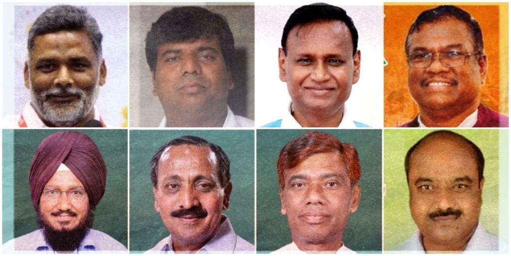 मधेपुरा सांसद पप्पू यादव, गोरखपुर सांसद प्रवीण निषाद, भाजपा सांसद उदित राज और भाजपा सांसद फग्गन सिंह कुलस्ते (ऊपर: बाएं से दाएं). आप सांसद साधु सिंह, कांग्रेस सांसद एपी राघवन, लोजपा सांसद रामचंद्र पासवान और राजद सांसद सरफ़राज़ आलम (नीचे: बाएं से दाएं). (फोटो साभार: फेसबुक/विकिपीडिया)