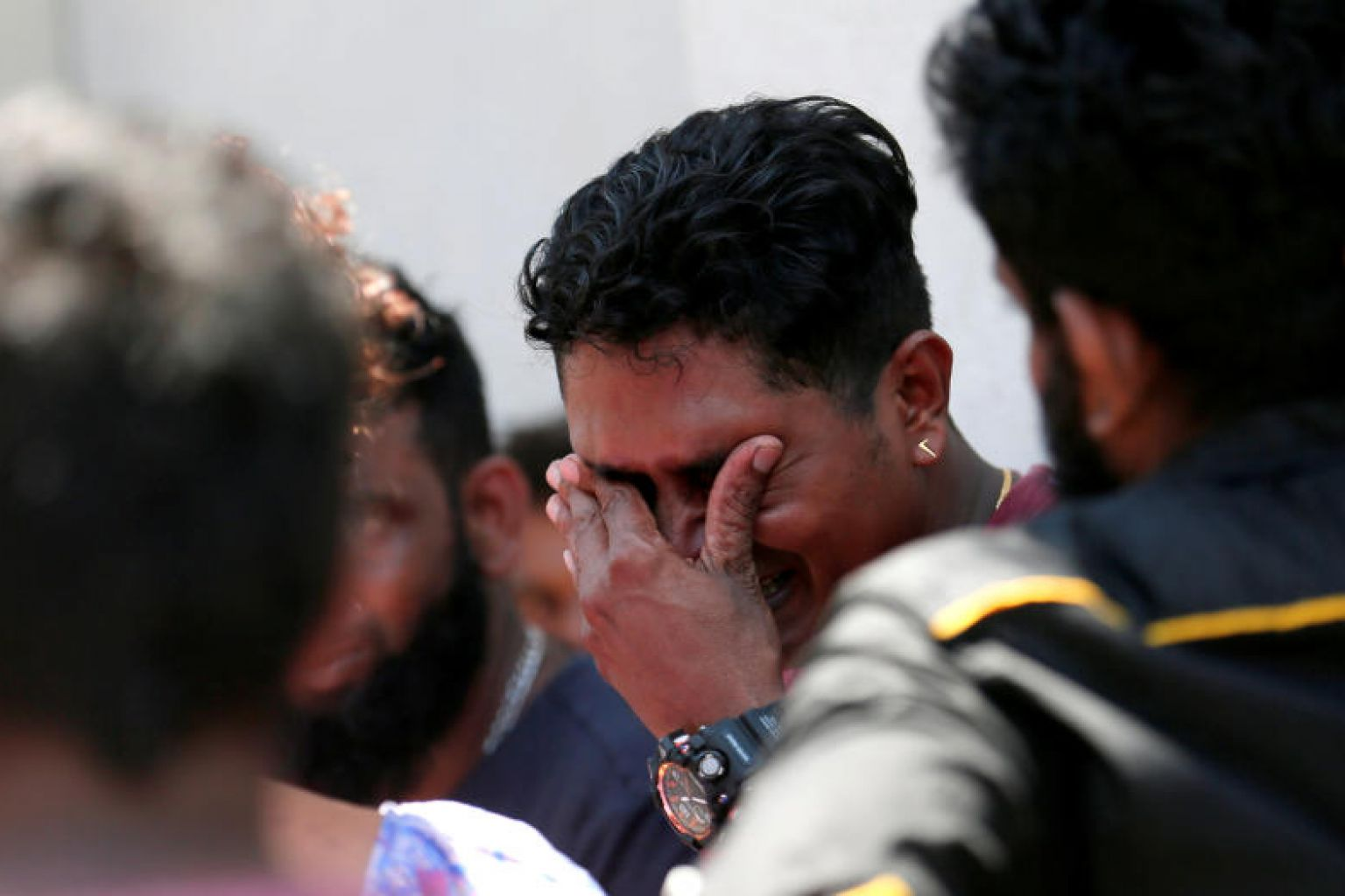 A relative of a victim of the explosion at St. Anthony's Shrine, Kochchikade church reacts at the police mortuary in Colombo. Reuters photo