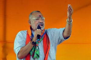 Deoghar: Union Minister and BJP senior leader Giriraj Singh speaks during a campaign for party's candidate from Godda constituency, Nishikant Dubey, during an election rally ahead of the last phase of the Lok Sabha polls, in Deoghar district, Monday, May 13, 2019. (PTI Photo)(PTI5_13_2019_000101B)