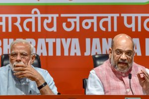 New Delhi: Prime Minister Narendra Modi with BJP President Amit Shah during a press conference at the party headquarter in New Delhi, Friday, May 17, 2019. (PTI Photo/Manvender Vashist) (PTI5_17_2019_000094B)