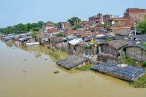 Muzaffarpur: A flooded village following incessant monsoon rains, at Mushari in Muzaffarpur district, Monday, July 15, 2019. (PTI Photo) (PTI7_15_2019_000166B)