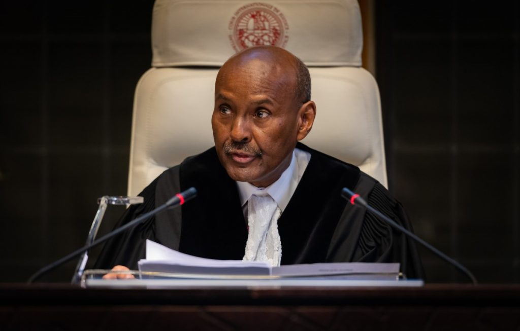 Judge Abdulqawi Ahmed Yusuf, president of the International Court of Justice, reads out the court's verdict in the Kulbhushan Jadhav case at The Hague on Wednesday 17 July 2019. Photo: ICJ