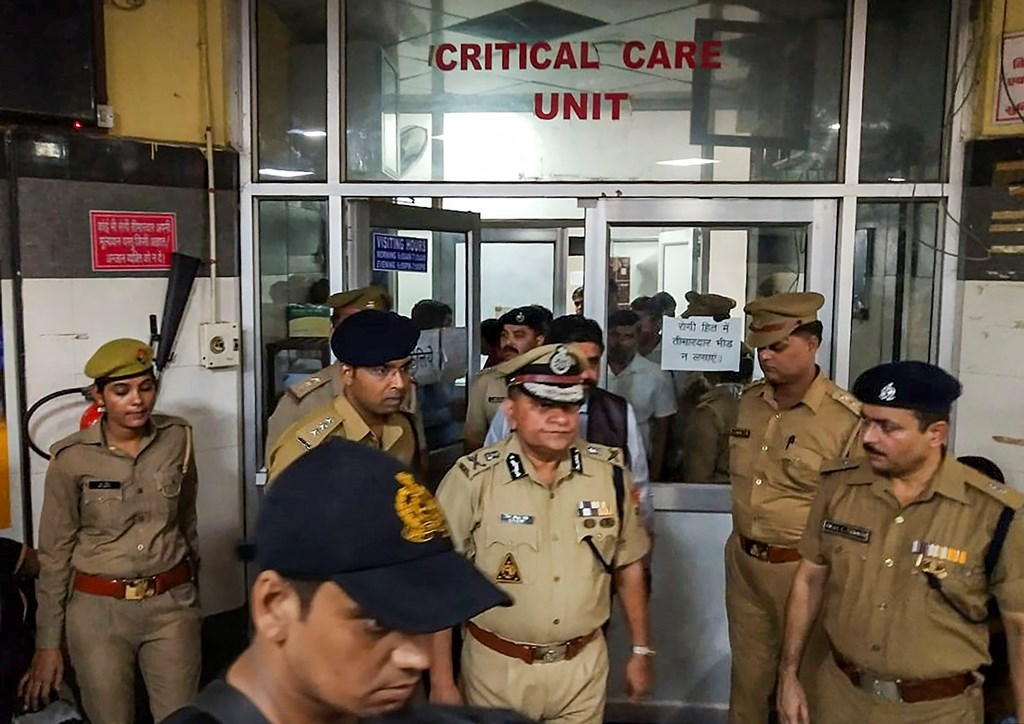 Lucknow: UP Director General of Police (DGP) OP Singh comes out of the KGMC Hospital after visiting the Unnao rape survivor, in Lucknow, Monday, July 29, 2019. The rape survivor got injured in a road accident near Raebareli, Sunday. (PTI Photo) (PTI7_29_2019_000226B)