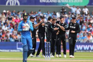 Manchester: New Zealand's Matt Henry, center without cap, celebrates with teammates the dismissal of India's K.L. Rahul, left, during the Cricket World Cup semi-final match between India and New Zealand at Old Trafford in Manchester, England, Wednesday, July 10, 2019. AP/PTI(AP7_10_2019_000126B)