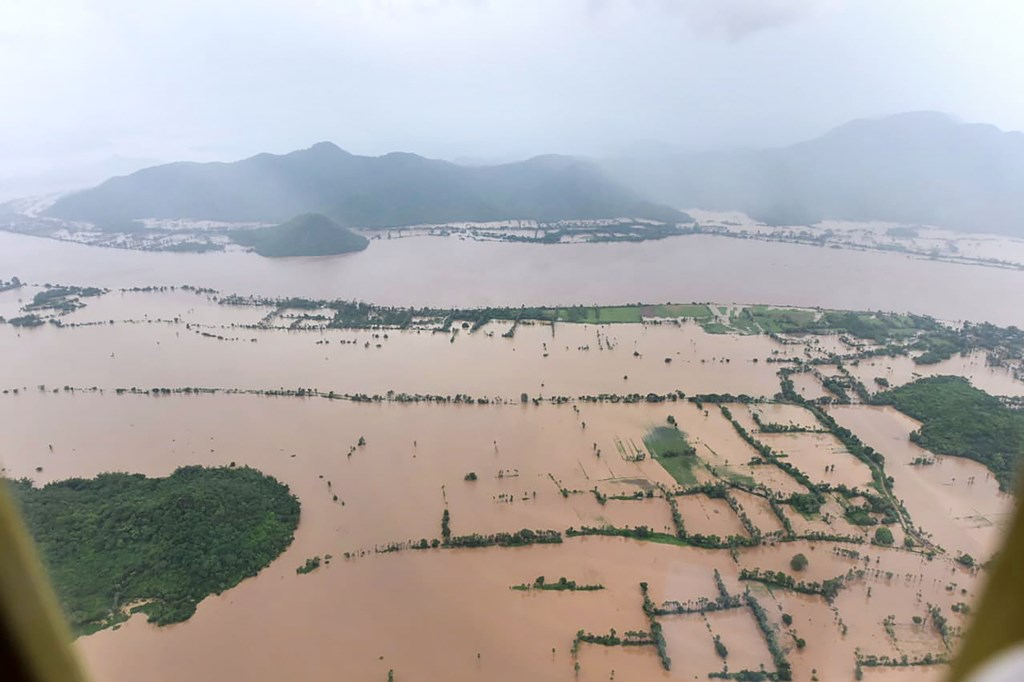 West Godavari: An aerial view of flood-affected area in Andhra Pradesh during a survey conducted by Andhra Pradesh Chief Minister YS Jaganmohan Reddy, Thursday, Aug 8, 2019. (PTI Photo)