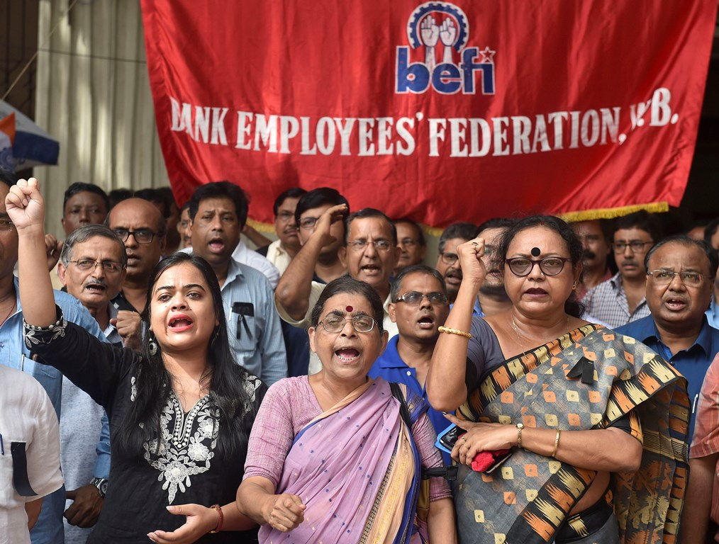 Kolkata: Bank Employees raise slogans against Central Government to protest against centre's decision for merger of different banks, in Kolkata, Saturday, Aug 31, 2019. (PTI Photo/Swapan Mahapatra)(PTI8_31_2019_000076B)