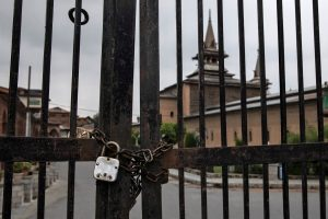 Jamia Masjid is seen locked during restrictions ahead of Eid-al-Adha after scrapping of the special constitutional status for Kashmir by the government, in Srinagar, August 11, 2019. REUTERS/Danish Siddiqui