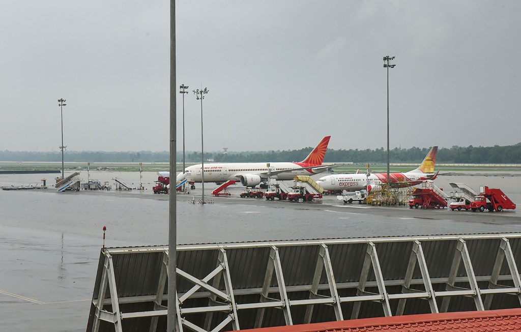 Kochi: Planes stand parked at Cochin International Airport as all operations were suspended following waterlogging in the runway area, in Kochi, Friday, Aug 9, 2019. According to authorities, services will remain suspended till Sunday. (PTI Photo)(PTI8_9_2019_000037B)