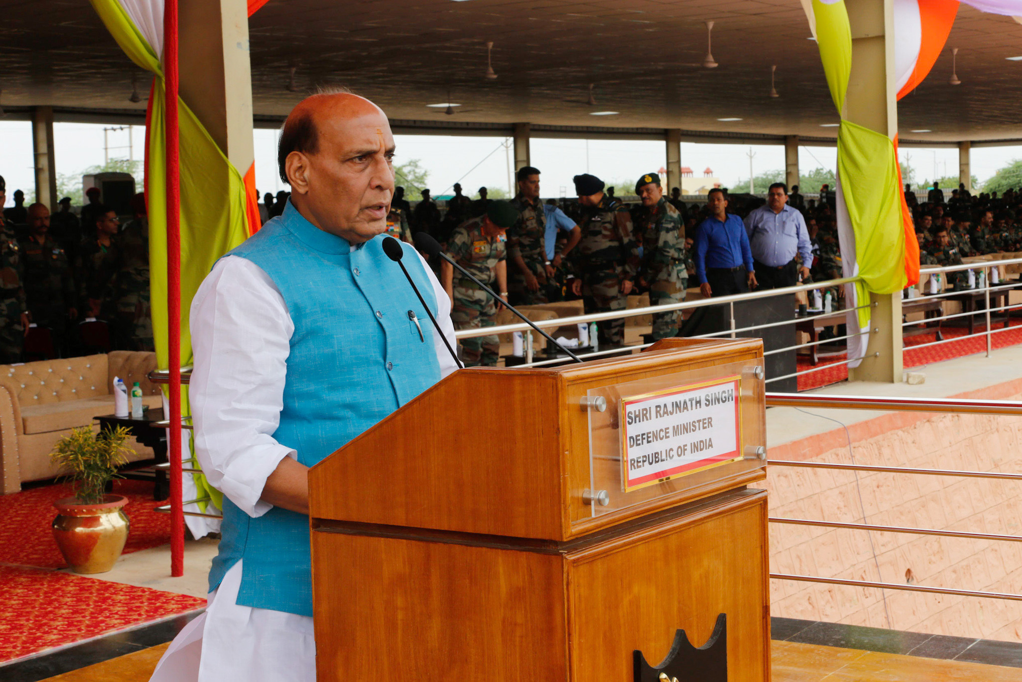 The Union Minister for Defence, Shri Rajnath Singh addressing the contingents of eight participating countries at 5th International Army Scout Masters Competition 2019, at Jaisalmer, in Rajasthan on August 16, 2019.