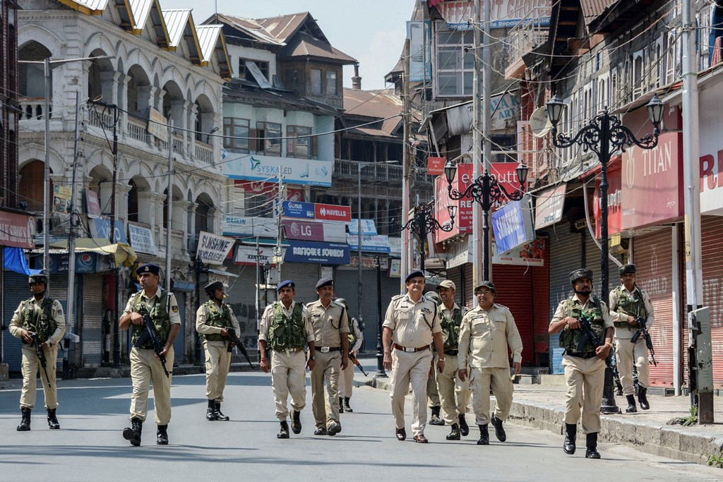 Srinagar: Security personnel patrol a deserted street on the 33rd day of strike and restrictions imposed after the abrogration of Article of 370 and bifurcation of state, in Srinagar, Friday, Sept. 6, 2019. (PTI Photo) (PTI9_6_2019_000062B)