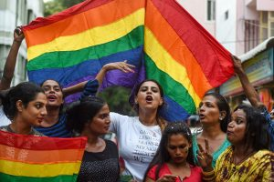 Chennai: Members of LGBTQ community celebrate the commeration of one year of the verdict made by Supreme Court which decriminalised homosexuality, at an event in Chennai, Friday, Sept.6, 2019. (PTI Photo)(PTI9_6_2019_000138B)