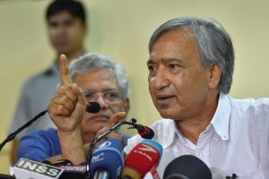 New Delhi: CPI(M) leader Mohd Yousuf Tarigami with party General Secretary Sitaram Yechury addresses a press conference, in New Delhi, Tuesday, Sept. 17, 2019. The Supreme Court on Monday said that Tarigami is at liberty to go back to Srinagar as and when he feels that his health allows him to undertake the journey. (PTI Photo/Kamal Kishore) (PTI9_17_2019_000082B)