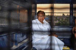 New Delhi: Senior Congress leader and former finance minister P Chidambaram after being produced in the Rouse Avenue Court in connection with the INX Media corruption case, in New Delhi, Tuesday, Oct. 15, 2019. The court allowed Enforcement Directorate to go on Wednesday to Tihar jail, where the Congress leader is lodged, and question and, if required, arrest him. (PTI Photo)  (PTI10_15_2019_000197B)