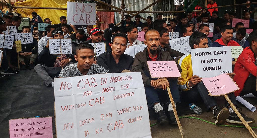 Shillong: Members of the North-East Forum for Indigenous People (NEFIP) stage a protest against the Centre's move to implement the Citizenship Amendment Bill (CAB), in Shillong, Thursday, Oct. 3, 2019. (PTI Photo) (PTI10_3_2019_000281B)