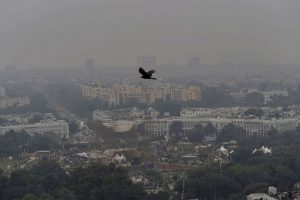 "New Delhi: An aerial view of Connaught Place shrouded in heavy haze post-Diwali celebrations, in New Delhi, Monday, Oct. 28, 2019. Delhi had anticipated the season's worst pollution levels in the morning after Diwali, but the air quality, although ""very poor"", turned out better than the last three years, according to data of the government's air quality monitors. (PTI Photo/Manvender Vashist)(PTI10_28_2019_000161B)"