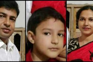 मारे गए शिक्षक बंधु प्रकाश पाल, उनकी पत्नी और बेटा. (फोटो साभार: सोशल मीडिया)